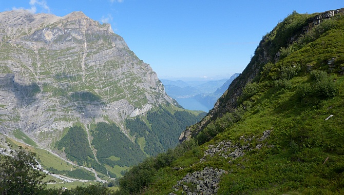 And to the North, the view below to the Gitschitaler Boden, across to the Gitschenberg cable car, and Lake Uri.
