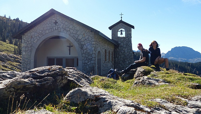 Great place for a picnic at the stone chapel at the Pass.