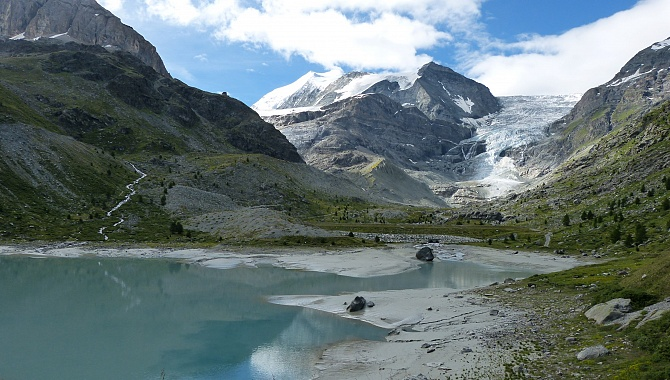View of the Turtmann Glacier from the Turtmann Lake.