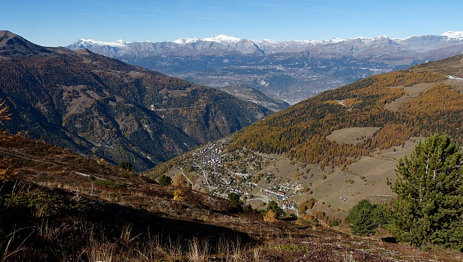 Along the trail toward Hotel Weisshorn, looking down to St-Luc and across to the Rhone Valley