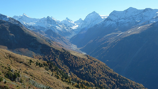 Walking toward Zinal with views of Mr. Zinal Rothorn, Dent Blanche, and Grand Cornier