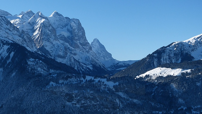 Mount Wetterhorn and the Eiger North Wall in the next valley South.