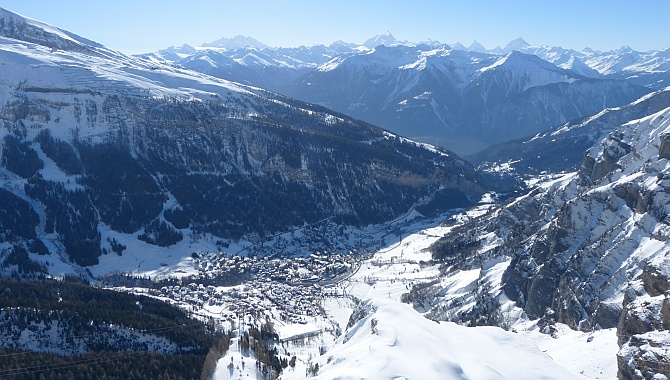 View South across Leukerbad and the Valais Alps