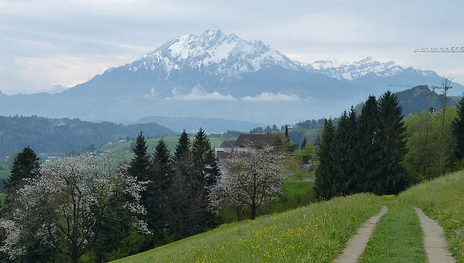 To the South, the mighty Mount Pilatus
