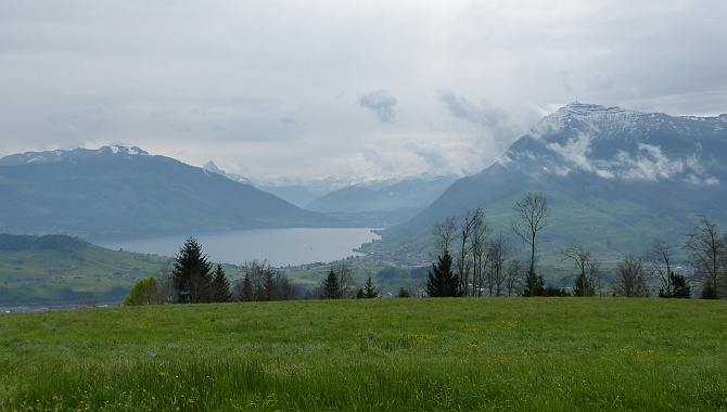 View Southeast from the Chapel at Michaelskreuz (Lake Zug)