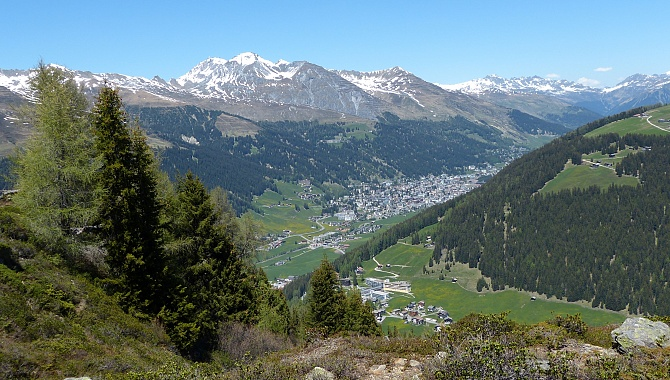 Views of Davos from the promontory before the trail heads South again.