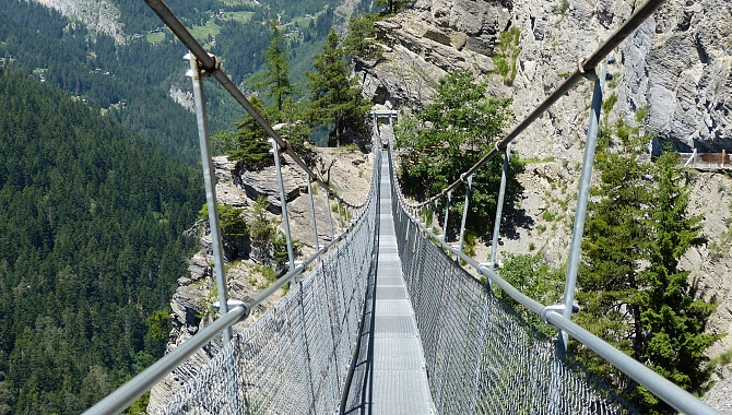 The new suspension bridges span the gaps where the path has been damaged by rock slides