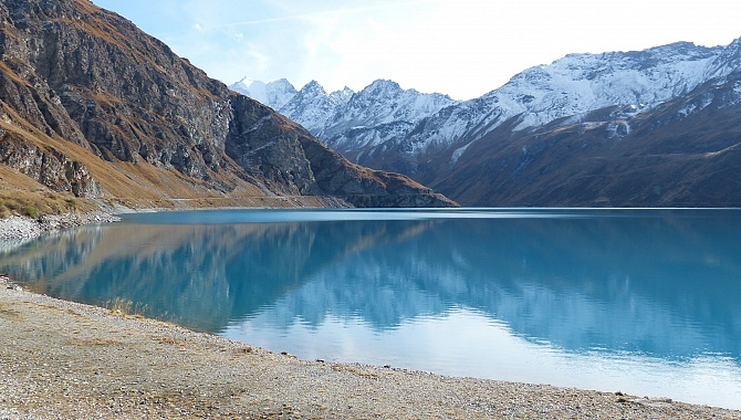 Beautiful Moiry Lake in the Val d'Annniviers