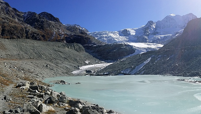 At the Glacier Lake at the foot of the Moiry Glacier