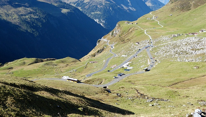On the ascent, looking down at the Klausen Pass Road and Untere Balm
