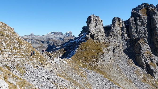 Looking back toward the Balmer Ridge with a peek at Glattalp and the largest Karst Region in the Alps.