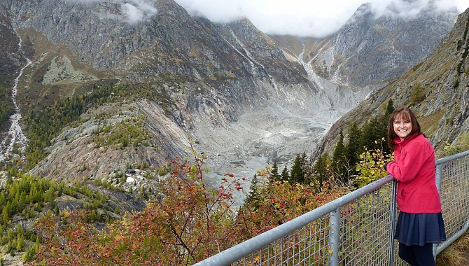 Look-out Point at Schranni: At the back the Fiescher Glacier Tongue; Bottom Left the Berghütte
