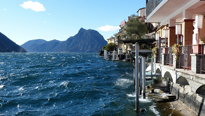 Gandria on Lake Lugano looking westward.