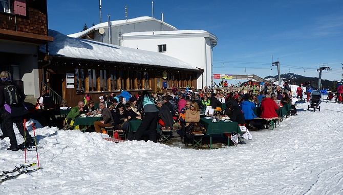 The Gasthaus at the Summit Station of the Cableway is busy at lunch time