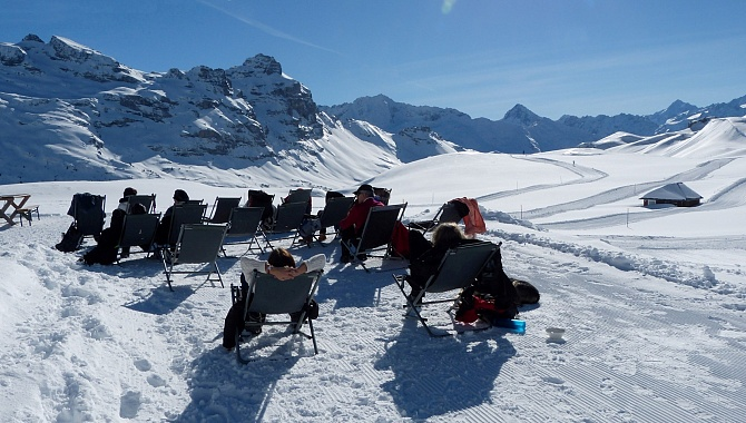 At the Tannalp restaurant are chairs where you can bask in the sun