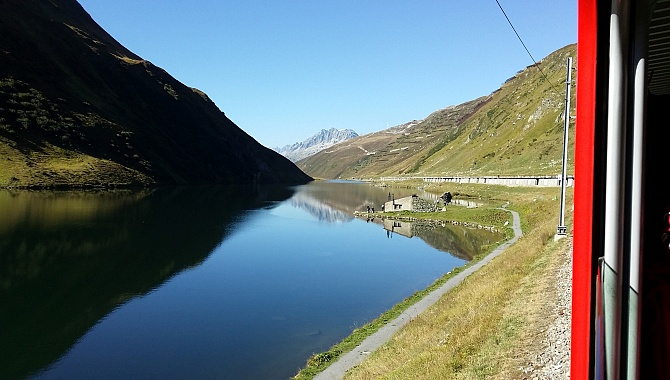 Lake Oberalpsee on the way to the Oberalp Pass