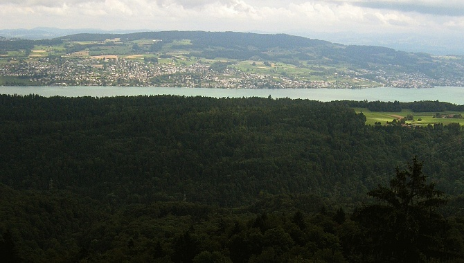 The view across the entire Sihlwald Forest to Lake Zurich directly eastward.