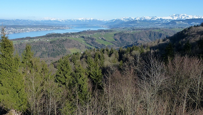 On a clear day you can see to the Glarnish Alps (photo from March 26, 2016)