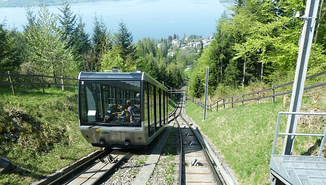 The Mount Zugerberg funicular takes you up the mountain in 8 minutes.