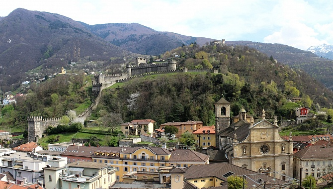 From Castelgrande, the view over old town Bellinzona up to the other two fortresses