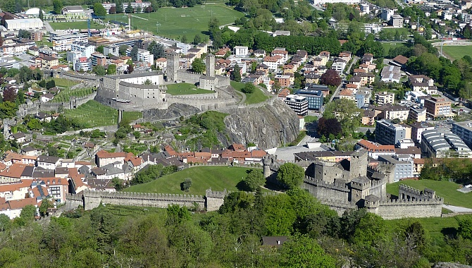 View of the other two Bellinzona Castles from the tower at Sasso Corbaro