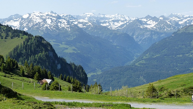 View into the Weisstannen Valley and the Glarner Alps from Palfries
