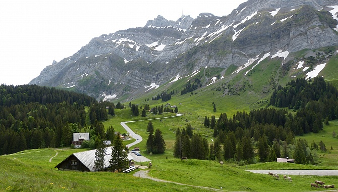 Start of the hike, looking back to the Schwägalp Pass