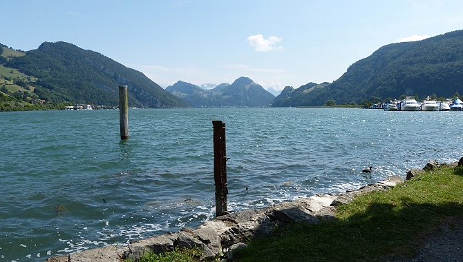 South shore of Lake Alpnachersee near train station and boad dock