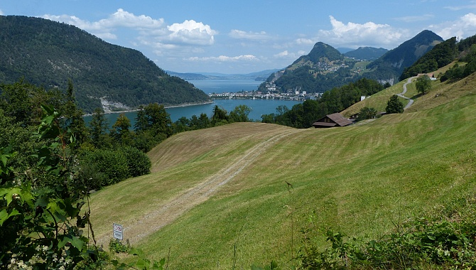 Out of the forest for a nice view across Lake Alpnachersee to Lake Lucerne