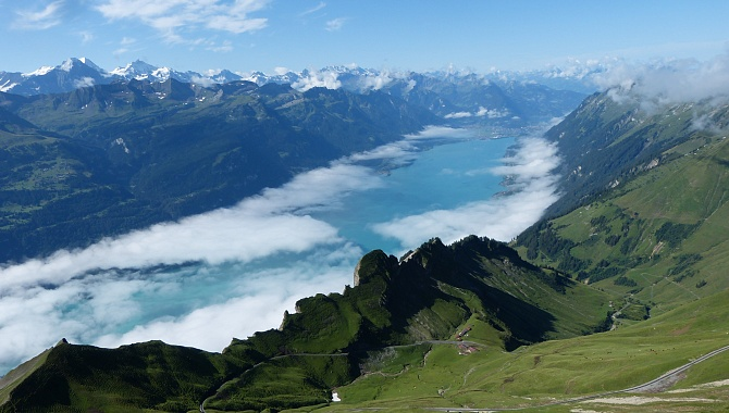 View of Lake Brienzersee and Bernese Alps from the peak of Mount Brienzer Rothorn