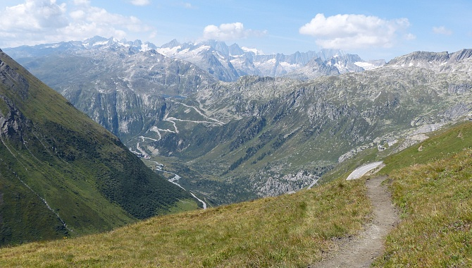 Spectacular views over Grimsel Area on the Furka-Belvedere stretch.