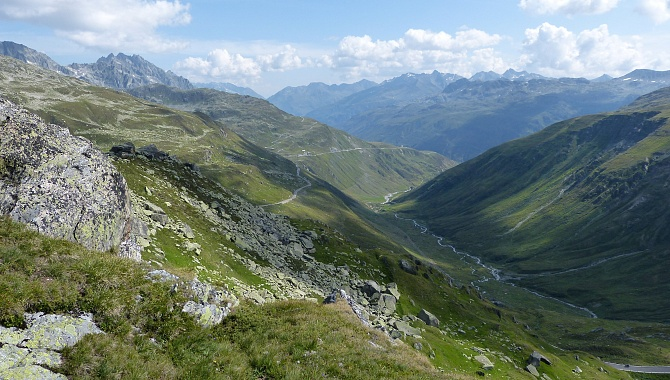 Spectacular views eastward toward Tiefenbach/Realp/Andermatt