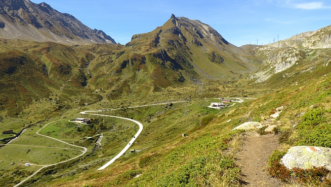 Looking back at the descent from the Nufenen Pass (on the right)