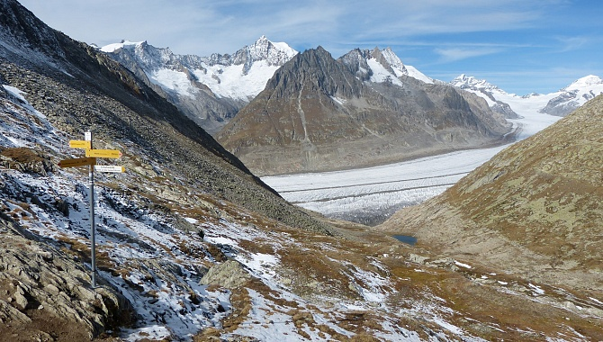 View of the Aletsch Glacier from Tälligrat.