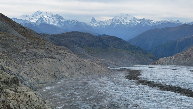 View all the way down the glacier to the Valais Alps