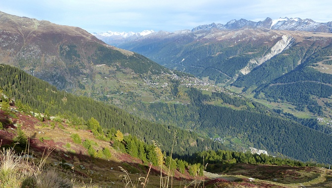 View into the Goms Valley, and Bellwald on the hill across the Fiescher Valley